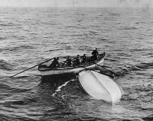 Collapsible Boat B from RMS Titanic is found by the Cable ship Mackay-Bennett