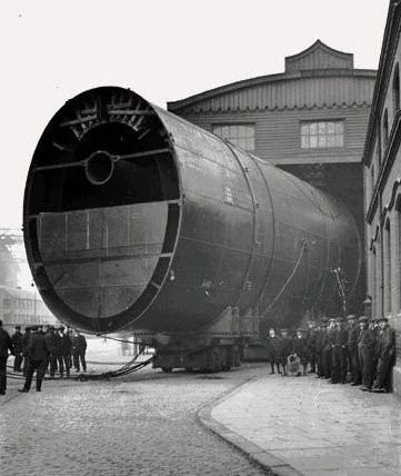 <em>RMS Britannic Funnel (1911) before being transported to Harland and Wolff</em>